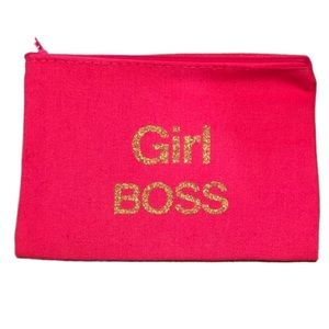 "2 for $15 ""Girl Boss"" Canvas Cosmetic Bag NWT"